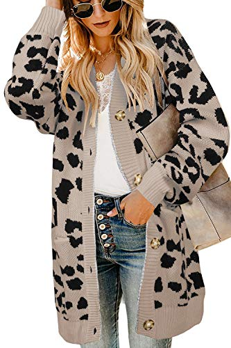 Print Ribbed Cardigan - Ferbia Women Leopard Cardigan Long Open Front Sweaters Oversized Loose Knit Coat Draped Jackets with Pockets
