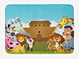 Ambesonne Religious Bath Mat, The Ark Illustration Before Journey All Animals Myth Faith Grace Old Stories, Plush Bathroom Decor Mat with Non Slip Backing, 29.5 W X 17.5 W Inches, Multicolor