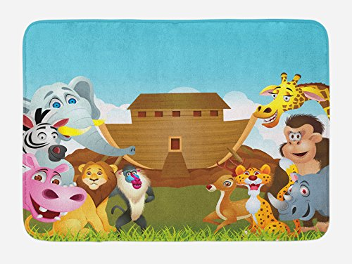 Ambesonne Religious Bath Mat, The Ark Illustration Before Journey All Animals Myth Faith Grace Old Stories, Plush Bathroom Decor Mat with Non Slip Backing, 29.5 W X 17.5 W Inches, Multicolor by Ambesonne