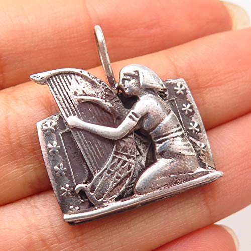 925 Sterling Silver Vintage Egyptian Woman Playing Harp Design Pendant Jewelry Making Supply by Wholesale - Egyptian Harp