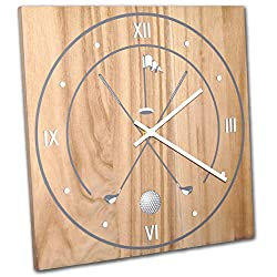 Golf Wall Clock Solid Wood, Non-Ticking, Silent, Made In USA, Golfer Gift