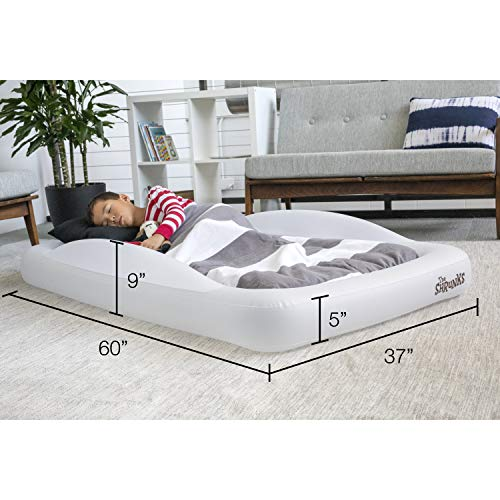 The Shrunks Toddler Travel Bed Portable Inflatable Air Mattress Bed for Travel, Camp or Home Use, Kids Size with Security Rails 60 x 37 x 9 inches –