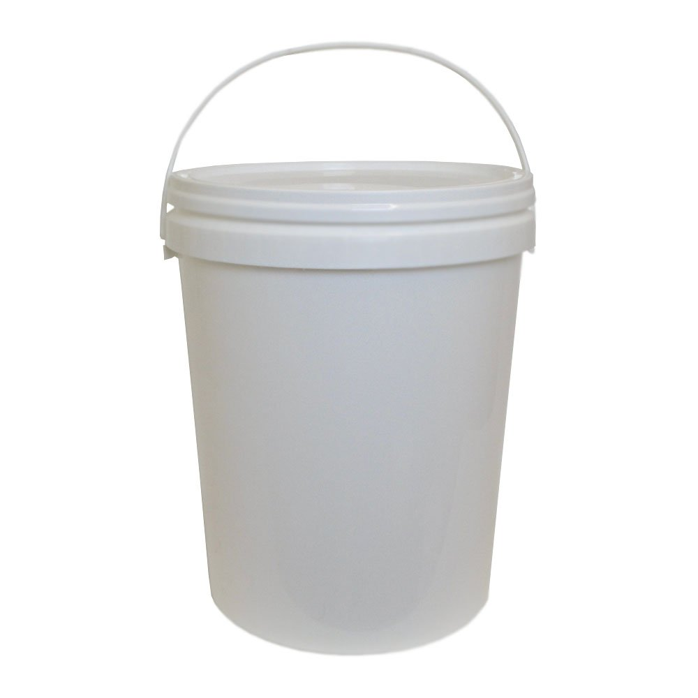 25 Litre Ltr L Plastic Bucket White with Lid and Handle for Storage Food Grade Home Brew Garden Kitchen Oipps