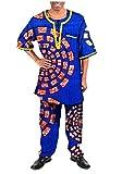 Zago Men's Fine Cotton Dashiki African Wax Fabric Pants + Tops Sets 15 5XL