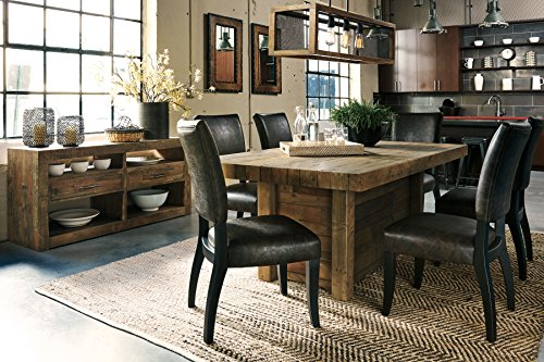 Sommerfard Casual Wood Brown Color Dining Room Set: Rectangle Table, 6 Chairs - Butcher Block Table Chairs