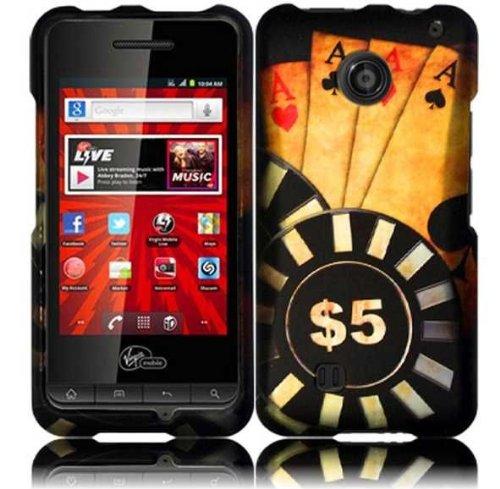Bundle Accessory For ZTE Chaser VM2090 (Virgin Mobile) - Ace Poker Designer Hard Case Protector Cover + Lf Stylus Pen + Lf Screen Wiper Chaser Kit
