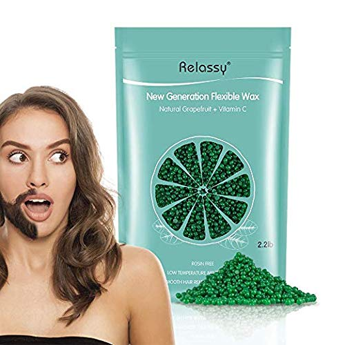 Relassy Professional Hard Wax Beads 2lb, Fruit flavor Stripless Depilatory Waxing Pellets Solid Film Beans No Strip Needed, Painless Gentle Hair Removal of Full Body, Face & Bikini Line (Green) ()