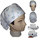 Woman's surgical cap. Blue butterflies. For long hair. Forehead area with towel. Tensioner and adjustable rubber in rear. Veterinarian, Dentist, Nursing, Kitchen. 100% cotton