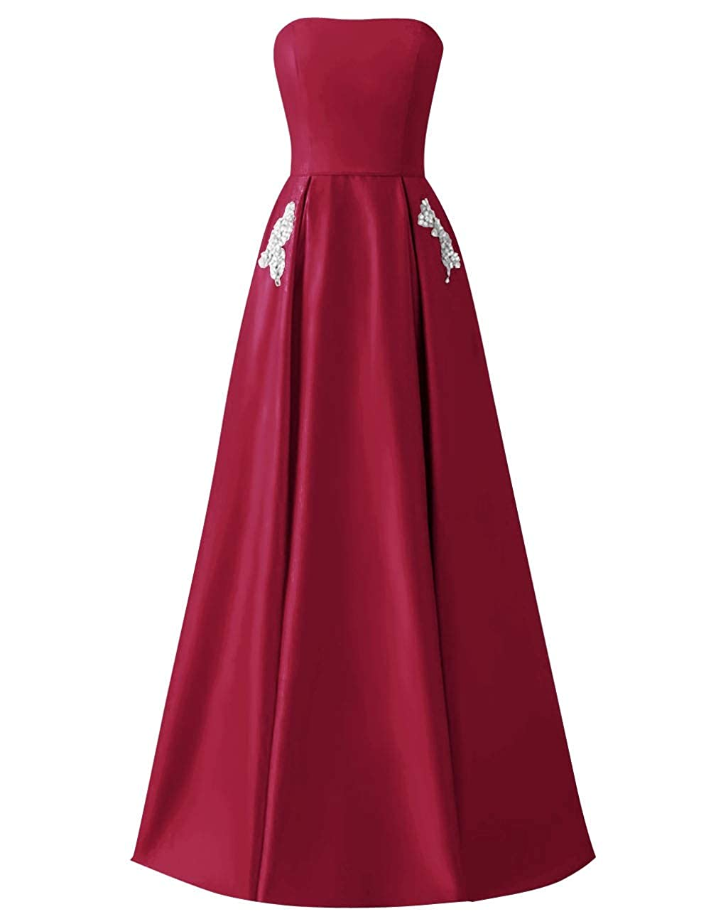 Burgundy MorySong Women Strapless Beading Pocket Prom Dress Satin Long Evening Party Gown