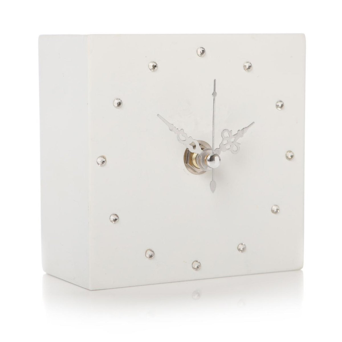 Glamorous Shruti Gem Crystal Cube Shelf Mantel Clock - Various Colours (Dark Blue)
