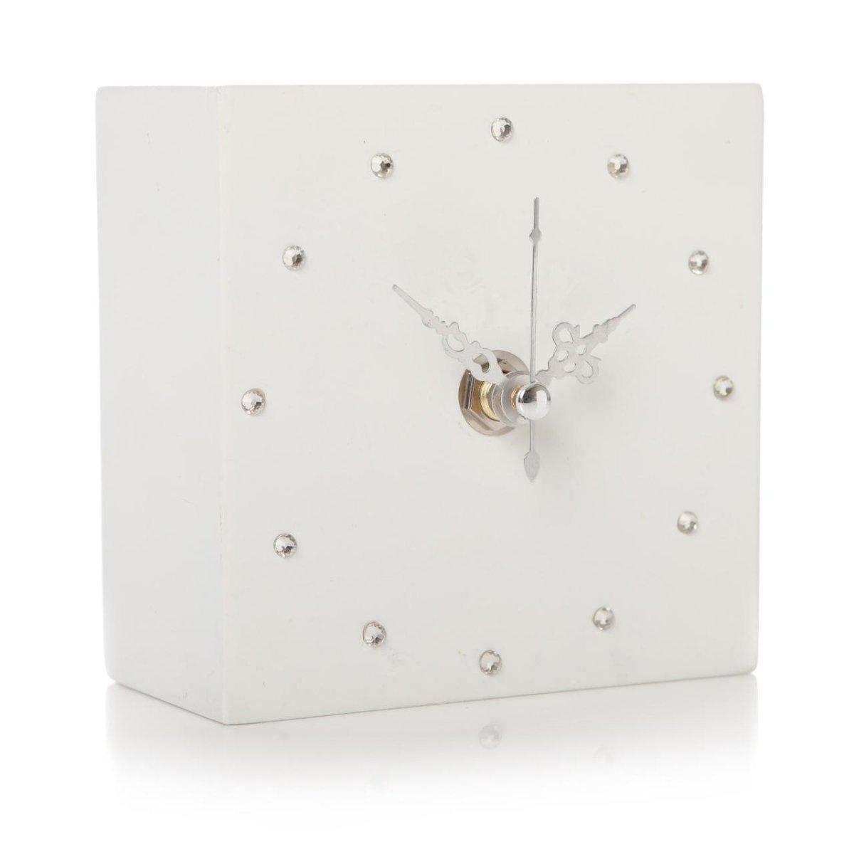 Glamorous Shruti Gem Crystal Cube Shelf Mantel Clock - Various Colours (Dark Blue)