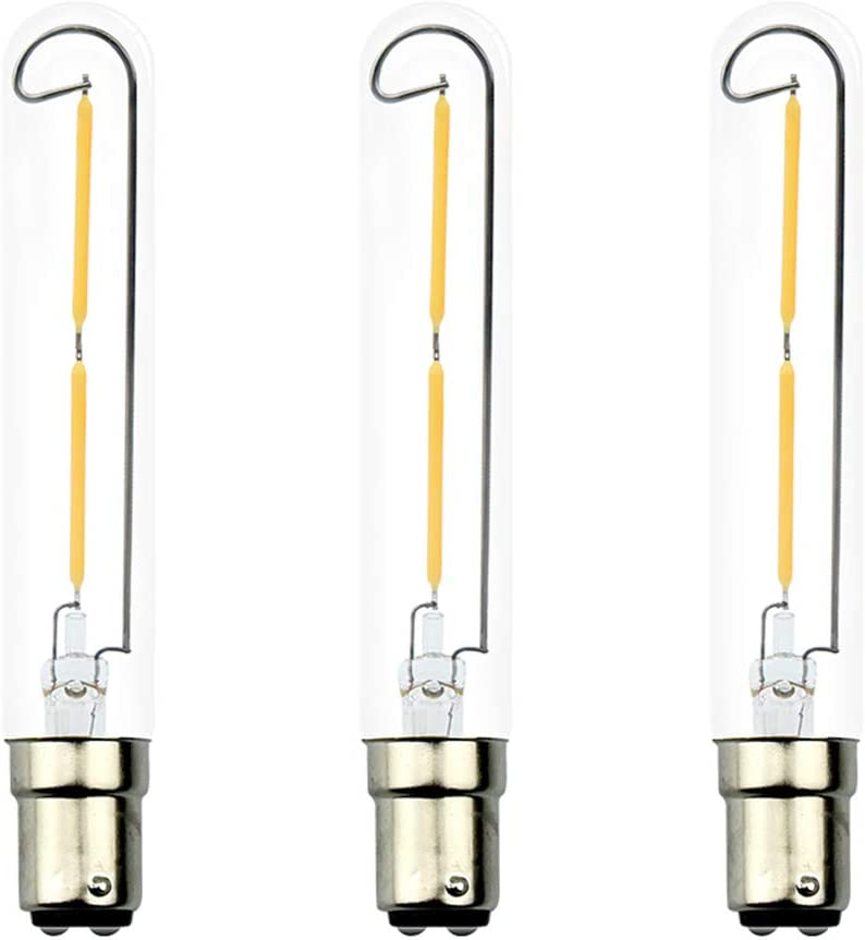 Luxvista 2W Dimmable LED T6.5 Tubular Filament Bulb - BA15D Double Contact Bayonet Base Appliance LED Lights 20W Incandescent Equivalent for Exit Sign Light Chandeliers 120V Warm White 2700K (3-Pack)