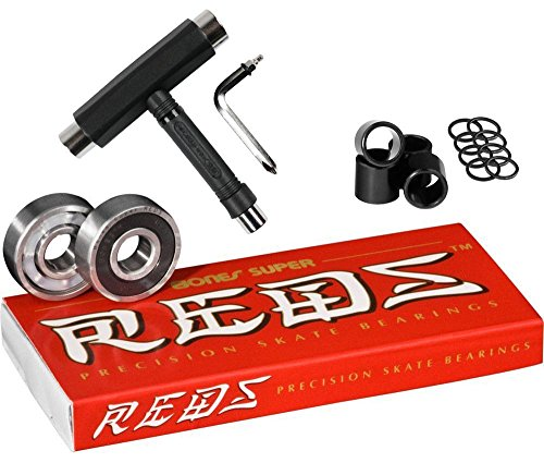 (Bones Super Reds Bearings, 8 Pack Set with Spacers, Speed Rings, and T-Tool)