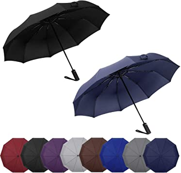 Watercolor Feather Automatic Windproof Travel Umbrella Compact Canopy With Black Glue And UV-resistant Coating