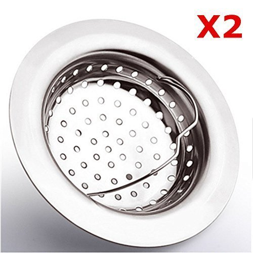 Set of 2 MsFeng Heavy Duty Good Grips Stainless Steel Sink Drain Strainer - Large Wide Rim 4.3 Diameter - Mesh Filter Basket Stopper for Kitchen Tub Bath Strainer (With Side Drain Holes) by MsFeng by MsFeng