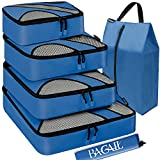BAGAIL 6 Set Packing Cubes,Travel Luggage Packing Organizers with Laundry Bag(Dark Blue)