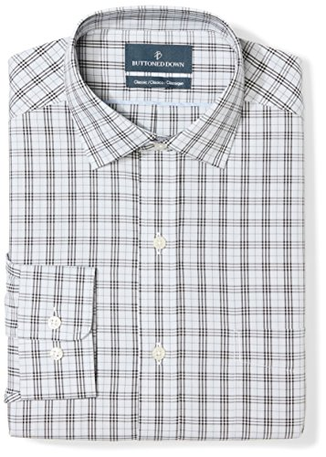 (BUTTONED DOWN Men's Classic Fit Spread Collar Pattern Non-Iron Dress Shirt, Grey/Black Plaid, 18