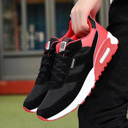 LHWY Herren Sneaker Lässig Travel Flat Rutschfest Schuhe Fashion Low Ankle Lace-up Schwarz Sportschuhe Rot