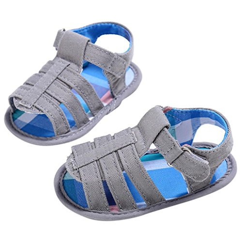 Binmer(TM) Baby Infant Kids Girl boys Soft Sole Crib Toddler Newborn Sandals Shoes (6~12 Month, Gray)