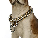 FANS JEWELRY 19mm Stainless Steel Chain Dog Choke Collar Heavy Duty for Medium Large Breeds Training Slip Collar(20inches)