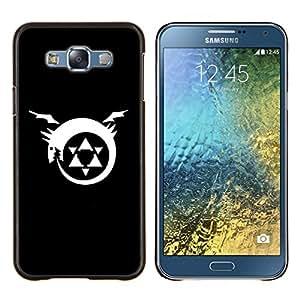 KLONGSHOP // Cubierta de piel con cierre a presión Shell trasero duro de goma Protección Caso - Trifuerza del dragón - Samsung Galaxy E7 E700 //