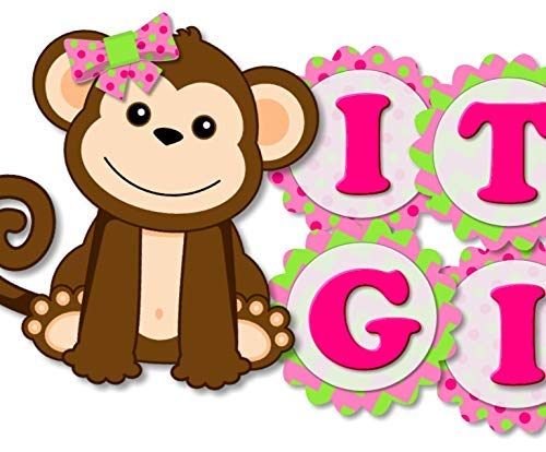 (Monkey Baby Shower Banner Party Theme Decoration for Baby Girl 'IT'S A GIRL' Sign - Handmade in)