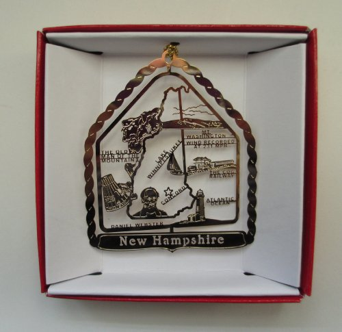 New Hampshire State Brass Christmas ORNAMENT Souvenir Gift - New Hampshire State Tree