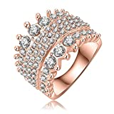 Evertrust (TM)Wedding Rings Fashion Women Accessories 18K Rose Gold /Platinum Plate Austrian Crystal Ring Inlay SWA Element Ri-HQ0247-b