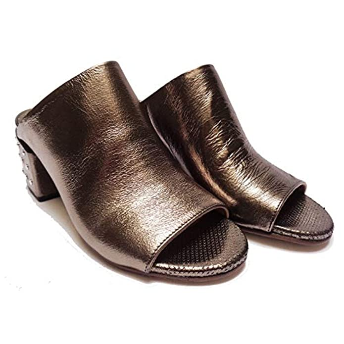 Fabbrica Dei Colli Sandali Da Donna Ciabatta A Sabot In Pelle Bronzo Tacco Cm 5 num 38