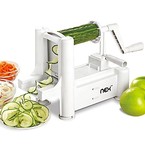 5-Blade Vegetable Spiralizer Slicer Professional Spiral Vegetable and Fruit Slicer Kitchen Gadgets Tools for Zucchini Noodles, Veggie Spaghetti, Pasta Salad (Best Method To Shred Cabbage)