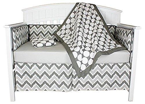 Bacati Dots and Chevron 4-in-1 Cotton Baby Crib Bedding Set, Bumper Pad, Grey [並行輸入品]   B07GJF4FVR