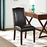 Better Homes And Gardens Classic Parsons Chair Silhouette Faux Leather  Living Room Accent Chair With Nailheads