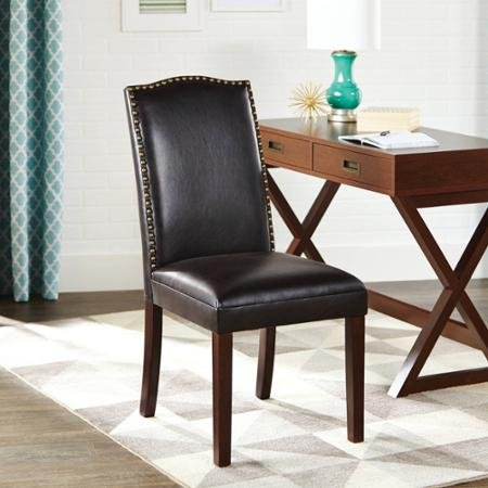 Better Homes and Gardens Classic Parsons Chair Silhouette Faux Leather Living Room Accent Chair with Nailheads Solid Wood Legs, Rich Dark Brown Textured Finish