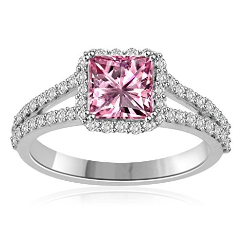 Princess Ring Sapphire Pink (14k White Gold Over 1.00 Ct Princess Cut Pink Sapphire and CZ Simulated Diamond Engagement Ring Women Jewelry Alloy)