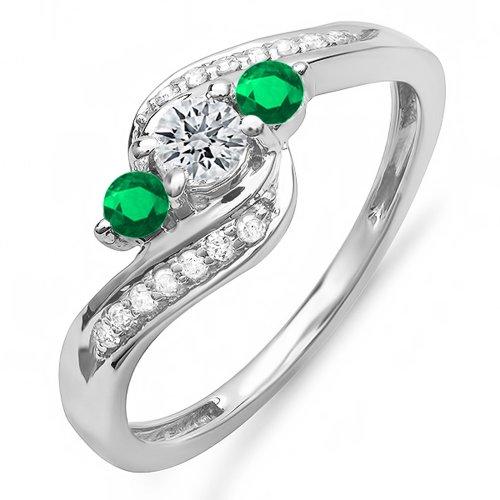 - 14K White Gold Round Genuine Emerald And White Diamond Ladies Swirl Engagement Semi Mount Bridal Ring