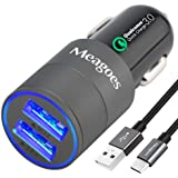 Meagoes Fast USB C Car Charger, Quick Charge 3.0 Enabled, with 1-Pack 3.3ft Type C Cord for Samsung Galaxy S8/S8 plus/Note 8, LG V30/V20/G6/G5, HTC 10/U11/Bolt/Ultra, Sony Xperia XZ and more [Grey]