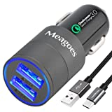 Meagoes Fast USB C Car Charger, Quick Charge 3.0 Enabled, with 1-Pack 3.3ft Type C Cord for Samsung Galaxy S9/S9+/S8/S8 Plus/Note 8, LG V30/V20/G7 ThinQ/G6, HTC 10/U11/Bolt/U Ultra More - Grey