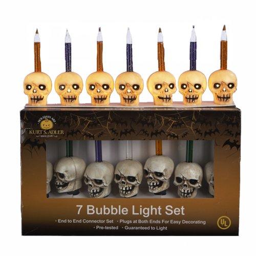 Kurt Adler UL 7-Light Skull Bubble Light Set