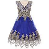 Big Girls Fabulous Sleeveless Gold Coiled Lace Mesh Tulle Skirt Flower Girl Dress Royal Blue - Size 8