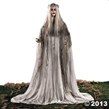 Lifesize Haunting Bewitching Beauty Gruesome Standing Ghost Girl Bride With Flashing Red Eyes Sppoky Scary Halloween Prop Decor by KNL Store