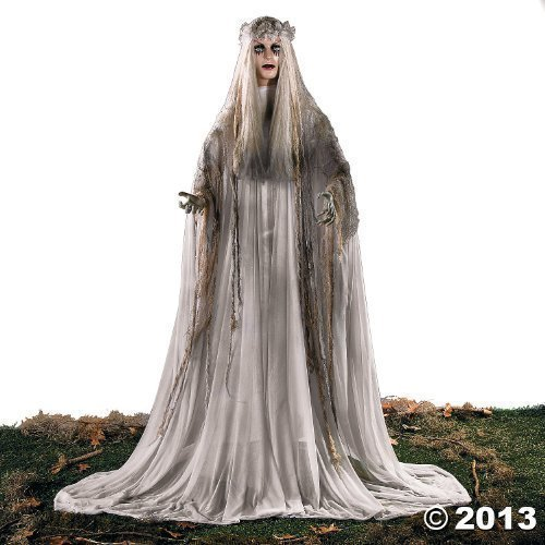 [Lifesize Haunting Bewitching Beauty Gruesome Standing Ghost Girl Bride With Flashing Red Eyes Sppoky Scary Halloween Prop Decor by KNL] (Halloween Props)