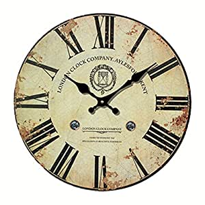 [12-inch] Eruner Vintage London Expression Wall Clock Wooden Clock Dial Roman Numerals Non-Ticking Livingroom Office Home Deco(C-31)