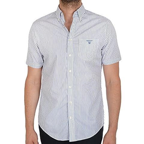 GANT Breton Mens Stripe Regular Fit Button Collar Shirt - M - Breton Stripe
