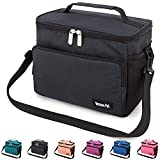 Leakproof Reusable Insulated Cooler Lunch Bag - Office Work School Picnic Hiking Beach Lunch Box Organizer with Adjustable Shoulder Strap for Women,Men and Kids-Black