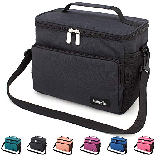 Leakproof Reusable Insulated Cooler Lunch Bag - Office Work Picnic Hiking Beach Lunch Box Organizer with Adjustable Shoulder Strap for Women,Men-Black - Large Lunch Box