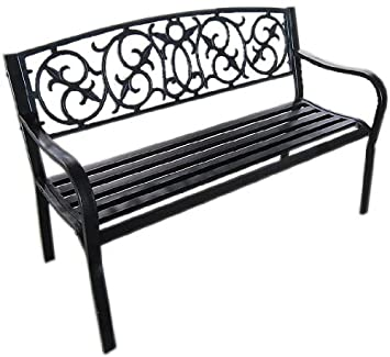 Awesome Black Metal Garden Bench Seat Outdoor Seating With Decorative Cast Iron  Backrest