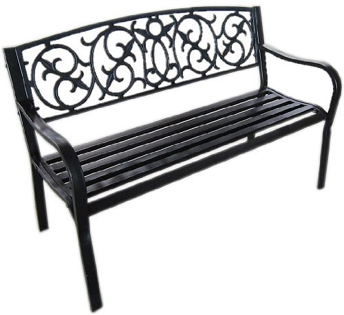 Black Metal Garden Bench Seat Outdoor Seating With Decorative Cast Iron  Backrest