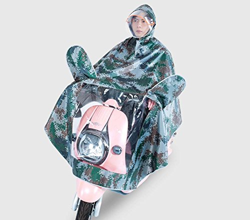 XIAOCHUIYY Raincoat Electric Motorcycle Thickening Double Hat Camouflage Adult Men And Women Battery Car Single Poncho