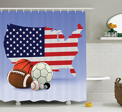Ambesonne Americana Decor Collection, American Map and Sport Balls Basketball Baseball Football Soccer Image, Polyester Fabric Bathroom Shower Curtain, 84 Inches Extra Long, Cobalt Red White Orange by Ambesonne