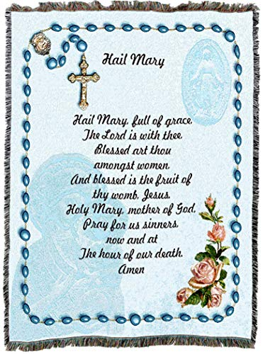 (Pure Country Weavers | Hail Mary Prayer Rosary Beads Woven Tapestry Throw Blanket with Fringe Cotton USA 72x54)